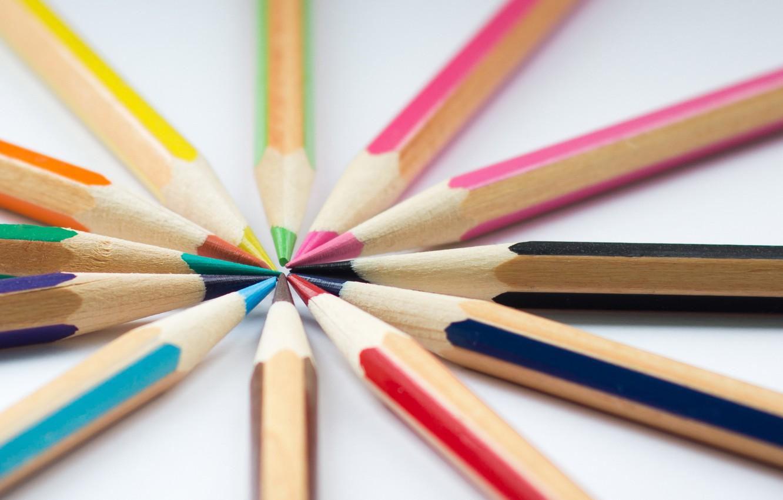 Photo wallpaper macro, background, color, pencils