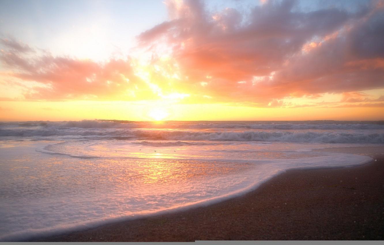 Photo wallpaper sea, wave, beach, the sun, clouds, dawn, pink