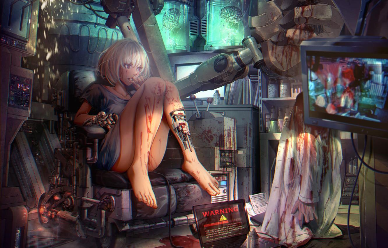 Photo wallpaper girl, blood, robot, anime, art, brain, TV, shoichi-kokub, sho