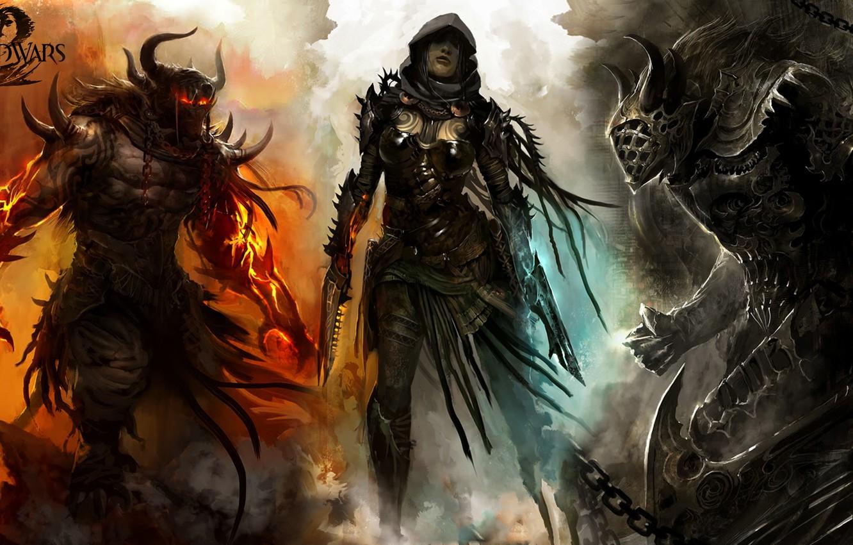 Wallpaper girl, the demon, warrior, Guild Wars 2, killer