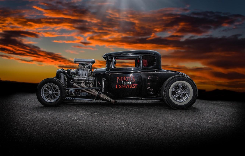 Photo wallpaper retro, background, classic, hot-rod, classic car