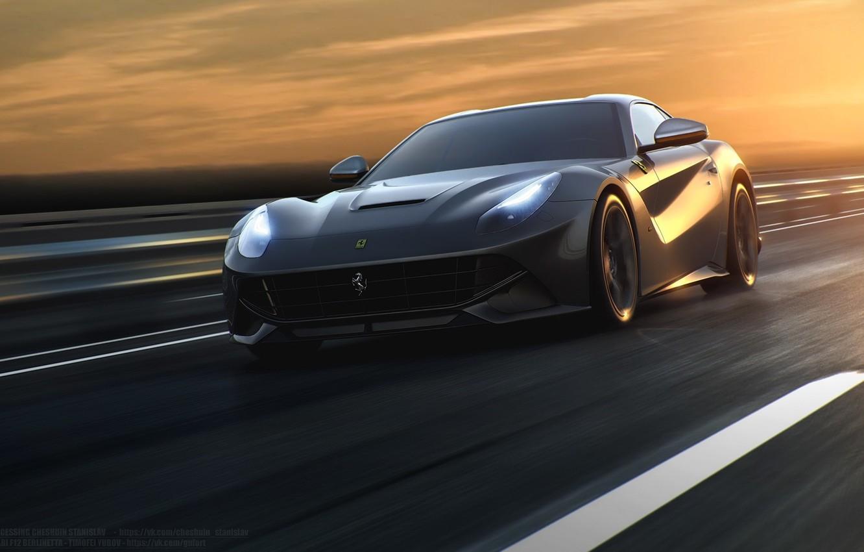 Photo wallpaper Ferrari, Speed, Front, Sun, Road, Berlinetta, F12, Silver