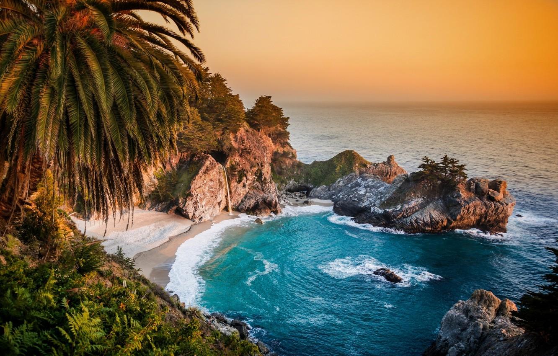 Photo wallpaper Palma, rocks, coast, waterfall, CA, Pacific Ocean, California, The Pacific ocean, Big Sur, McWay Falls, …