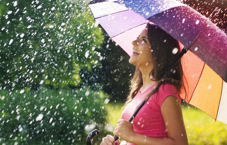Photo wallpaper summer, girl, joy, happiness, smile, umbrella, background, rain, widescreen, Wallpaper, mood, positive, umbrella, brunette, wallpaper, …