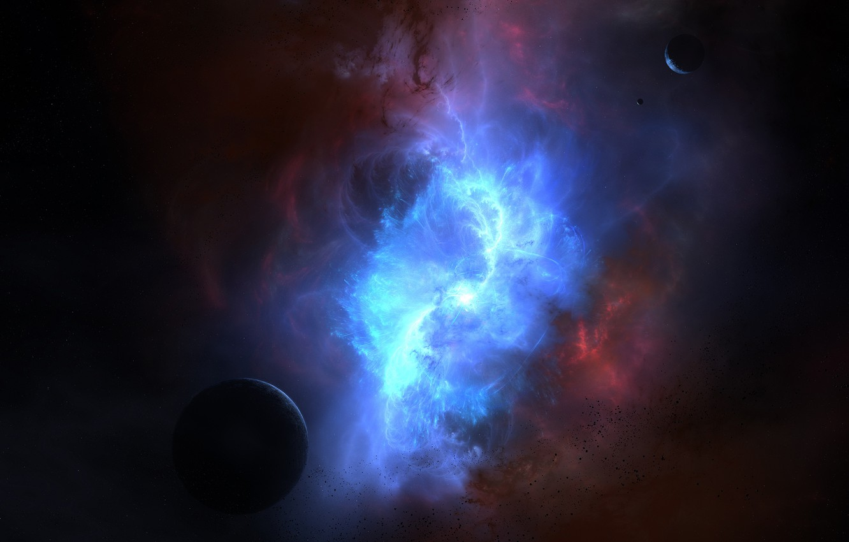 Photo wallpaper color, space, nebula, planet, glow, asteroids