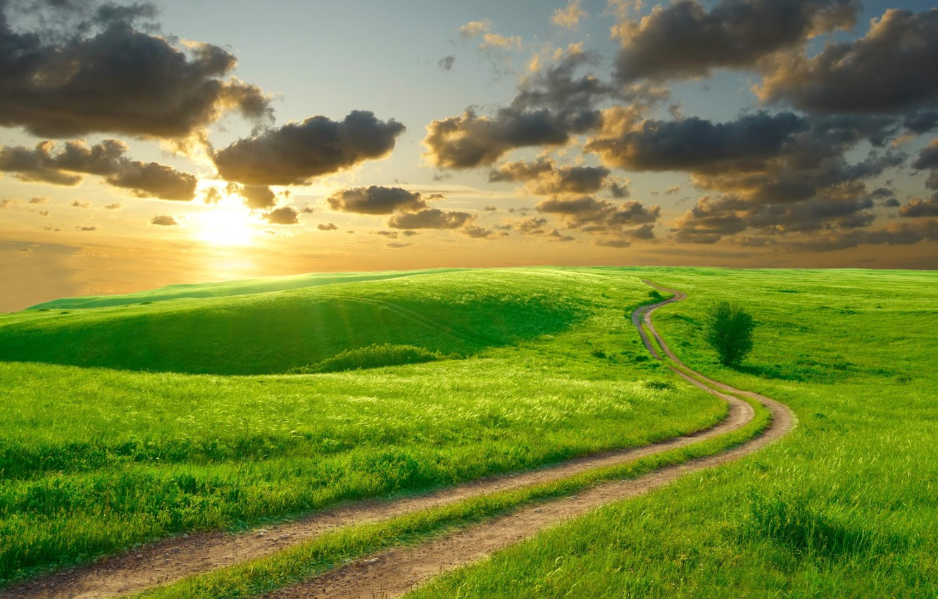 Photo wallpaper road, summer, the sky, the sun, clouds, landscape, nature, hills, morning, beautiful