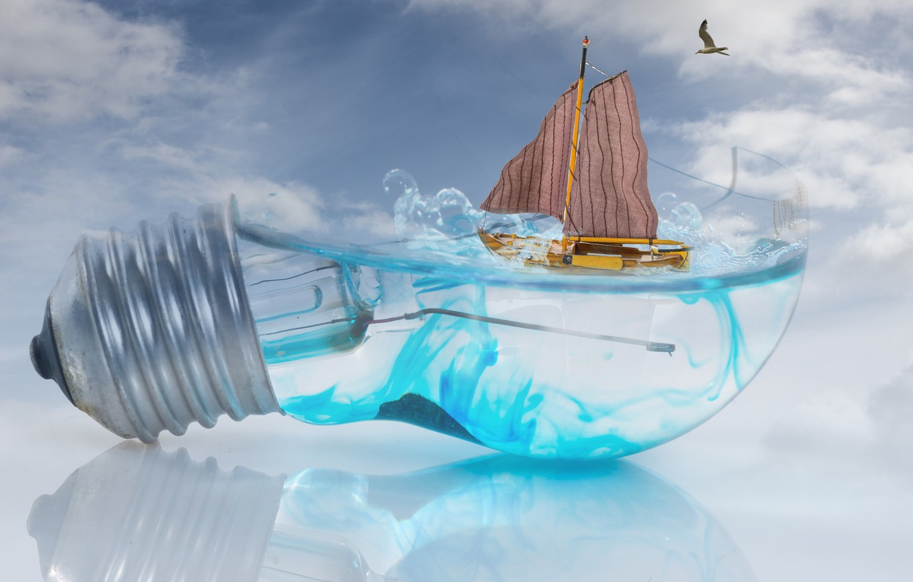 Photo wallpaper wave, the sky, light bulb, water, reflection, creative, boat, Seagull