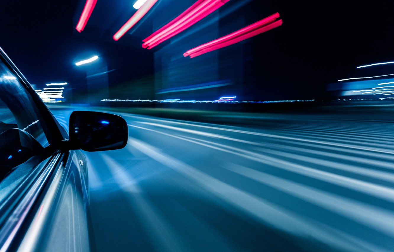 Photo wallpaper road, macro, light, night, the city, lights, reflection, strip, movement, markup, speed, excerpt, blur, turn, …