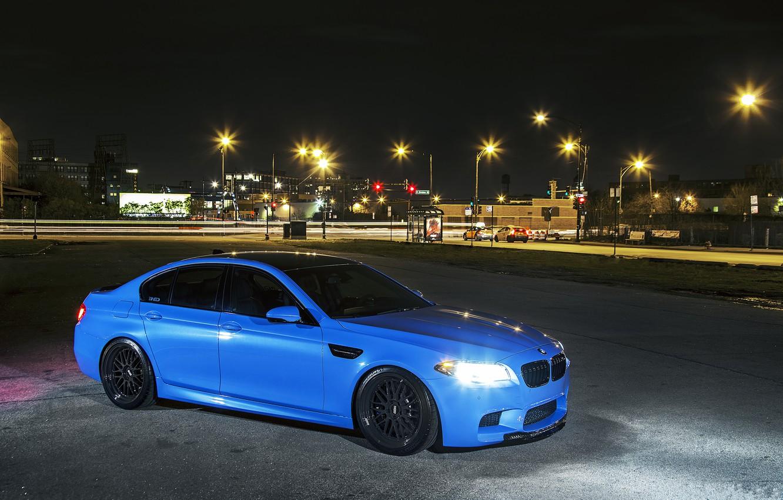 Photo wallpaper night, the city, lights, blue, BMW, BMW, f10, Yas Marina Blue