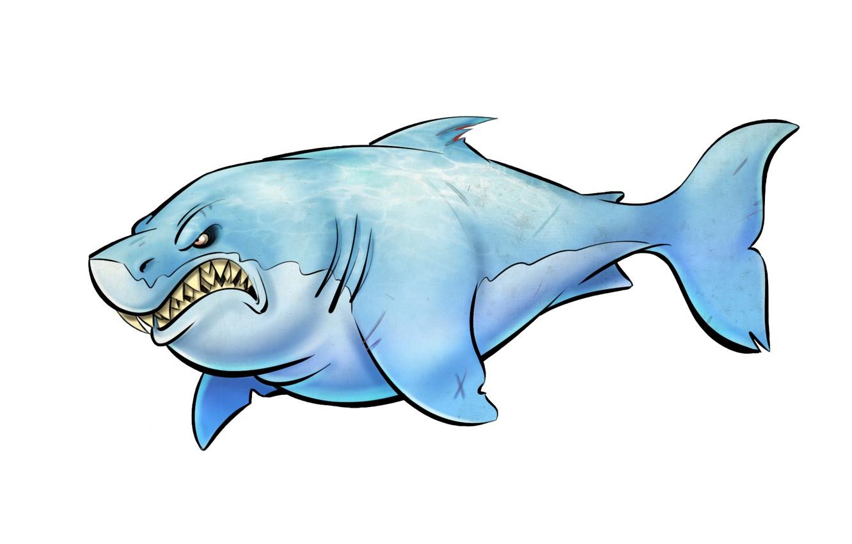 Photo wallpaper fish, shark, light background, shark, toothy