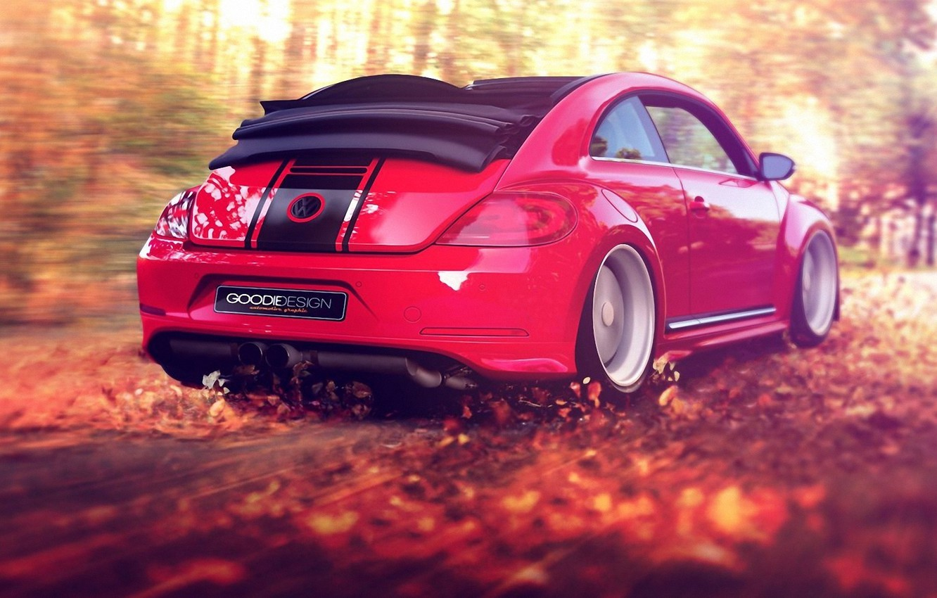 Photo wallpaper autumn, forest, leaves, red, the wind, foliage, speed, beetle, volkswagen, convertible, beetle