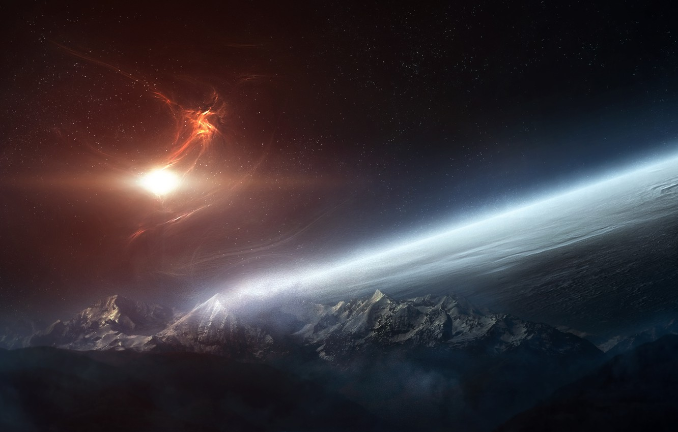 Photo wallpaper stars, clouds, surface, light, mountains, planet, the atmosphere, nebula