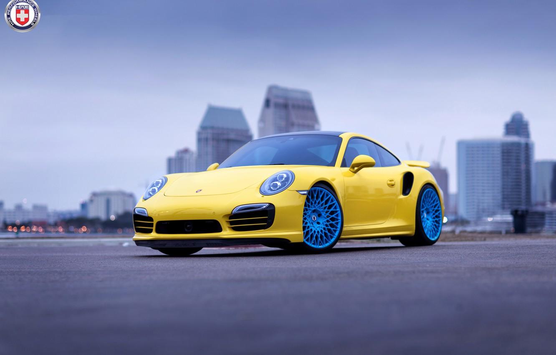 Photo wallpaper Porsche, Blue, Turbo, 991, HRE, 501M