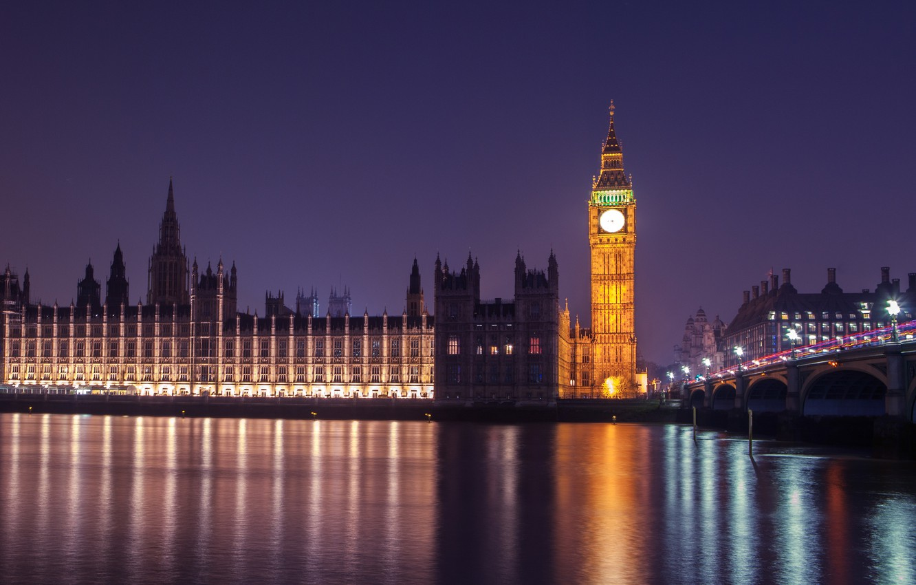 Photo wallpaper night, architecture, Palace, London, Westminster