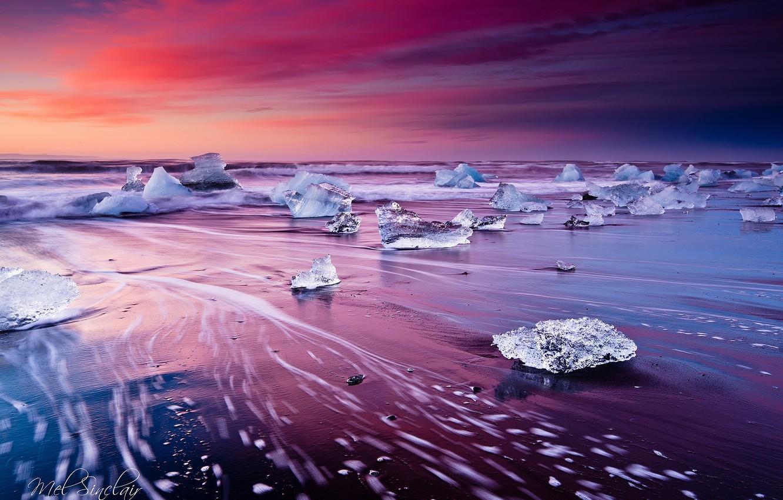Photo wallpaper wave, beach, ice, excerpt, Iceland, the glacial lagoon of Jökulsárlón