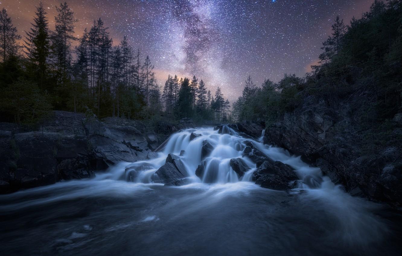 Photo wallpaper the sky, stars, night, nature, river, the milky way
