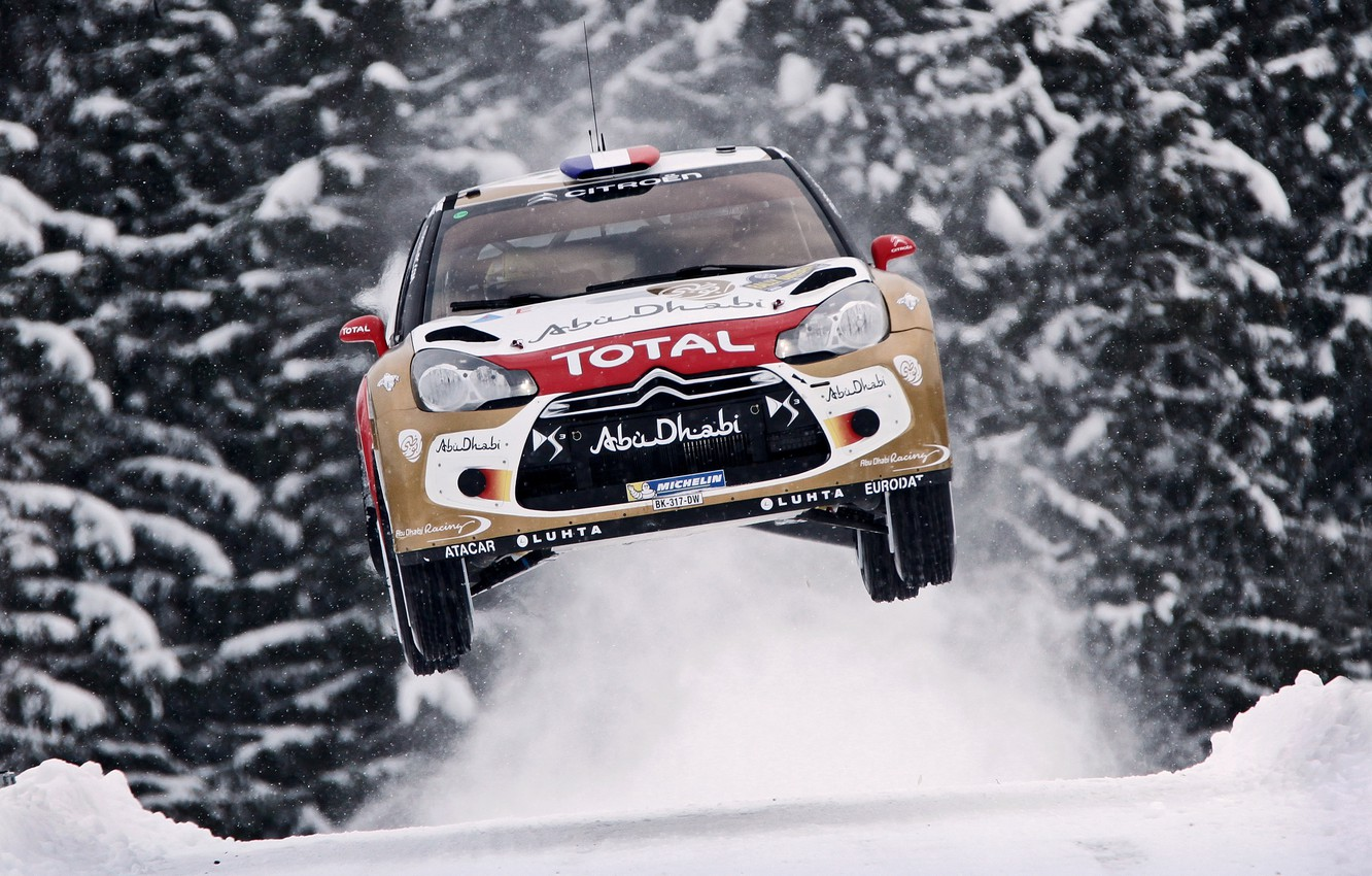 Photo wallpaper Snow, Machine, Speed, Citroen, Citroen, DS3, WRC, Rally, The front, In The Air, Flies