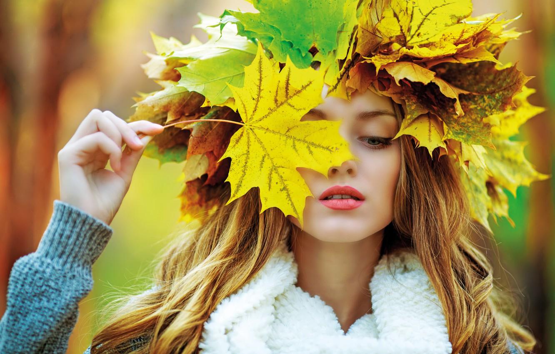 Photo wallpaper autumn, girl, maple, girl, woman, autumn, leaves, fall, autumn leaves, maple