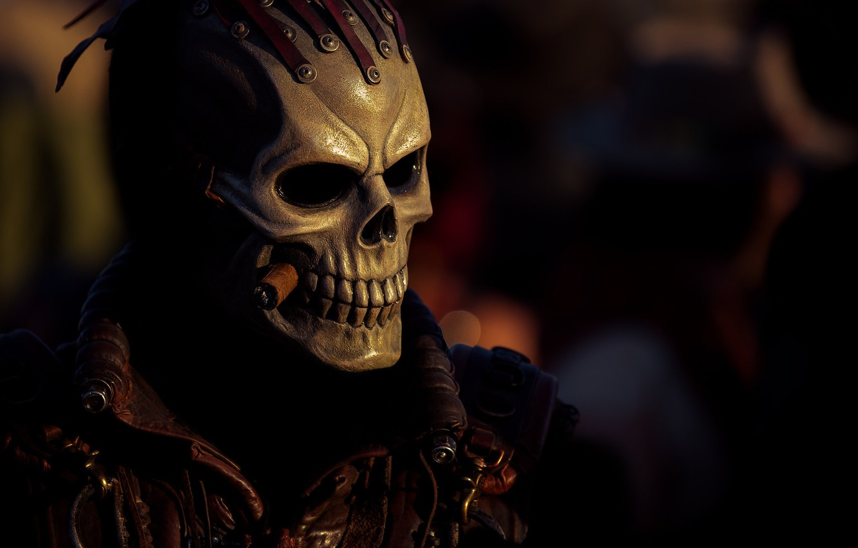 Photo wallpaper style, background, skull, mask, costume, cigar