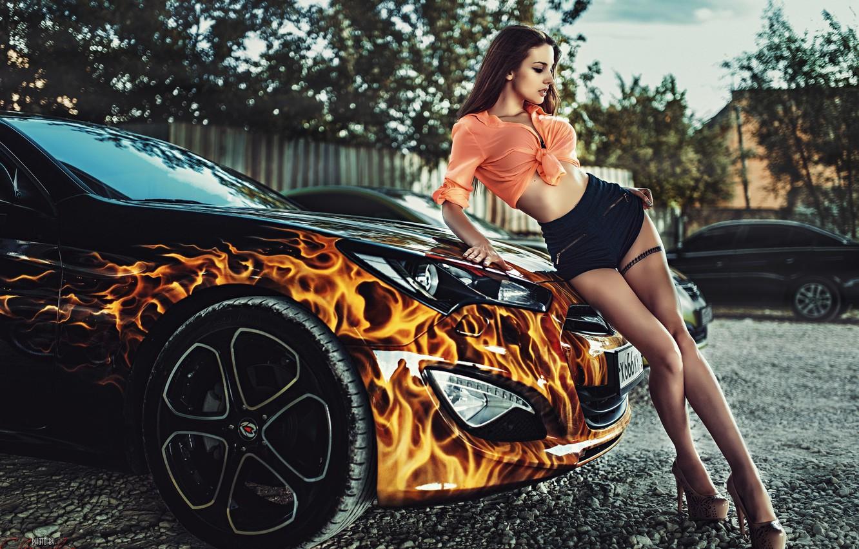 Photo wallpaper fire, model, linen, brown hair, drives, cool car, Alla Berger
