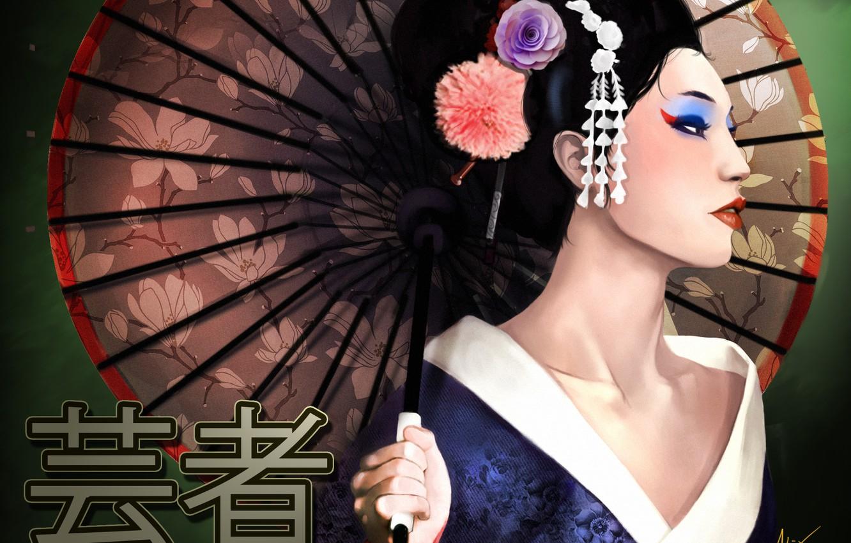 Photo wallpaper girl, umbrella, art, geisha, characters, Memoirs of a Geisha
