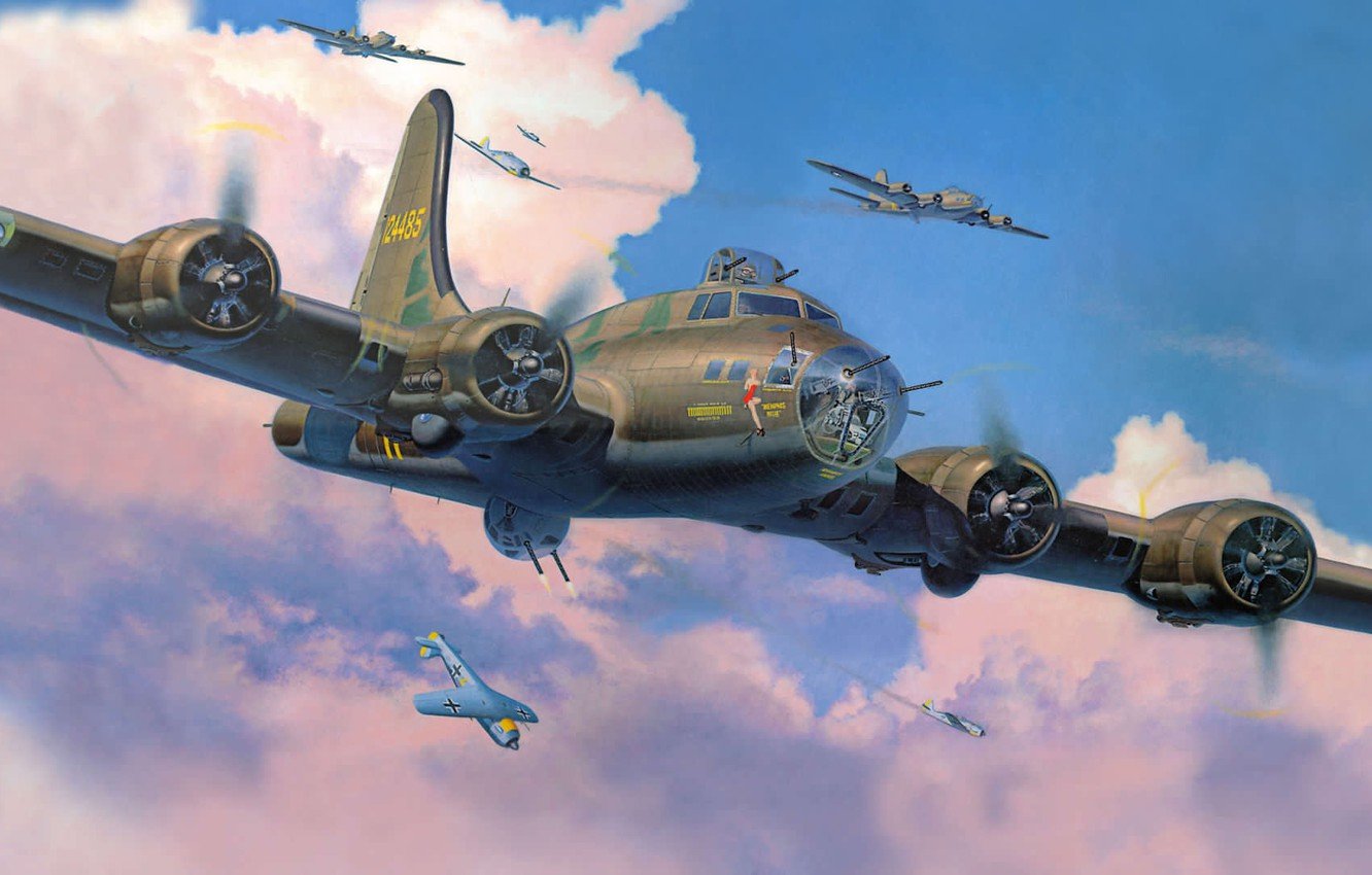 Wallpaper figure, fighters, bombers, interception, fw-190, Flying fortress, Boeing B-17 Flying ...