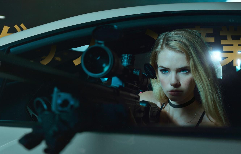 Photo wallpaper machine, look, girl, blonde, sight, sniper rifle