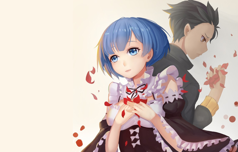 Photo wallpaper background, anime, petals, art, two, Subaru, Re: Zero kara hajime chip isek or Seikatsu, REM