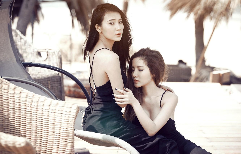 Photo wallpaper pose, background, girls