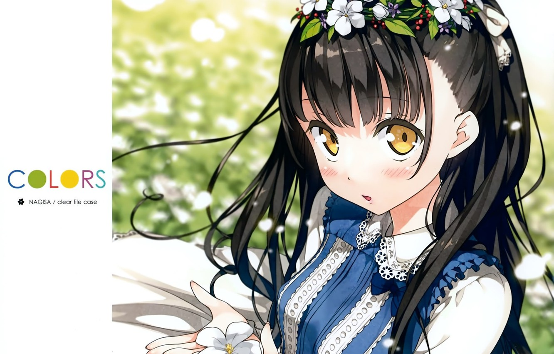 Photo wallpaper flowers, dress, girl, wreath, lace, big eyes, by kantoku