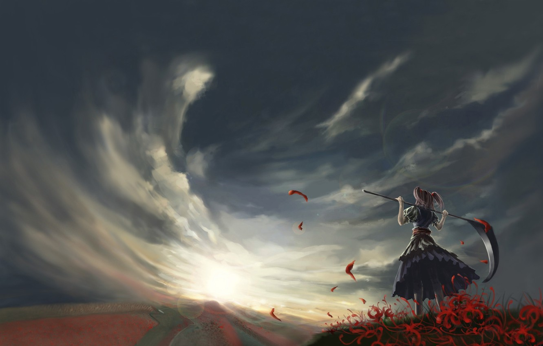 Photo wallpaper field, the sky, clouds, the wind, braid, onozuka komachi