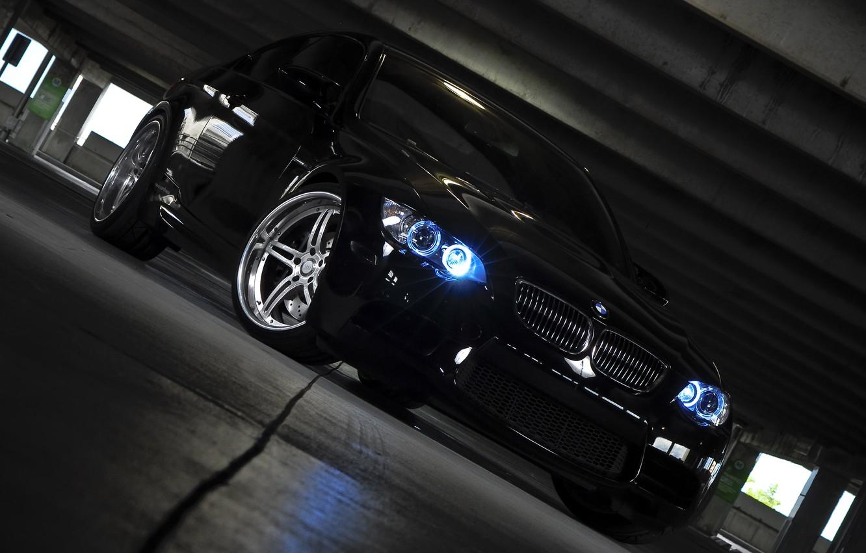 Photo wallpaper black, lights, BMW, BMW, Parking, black, E92