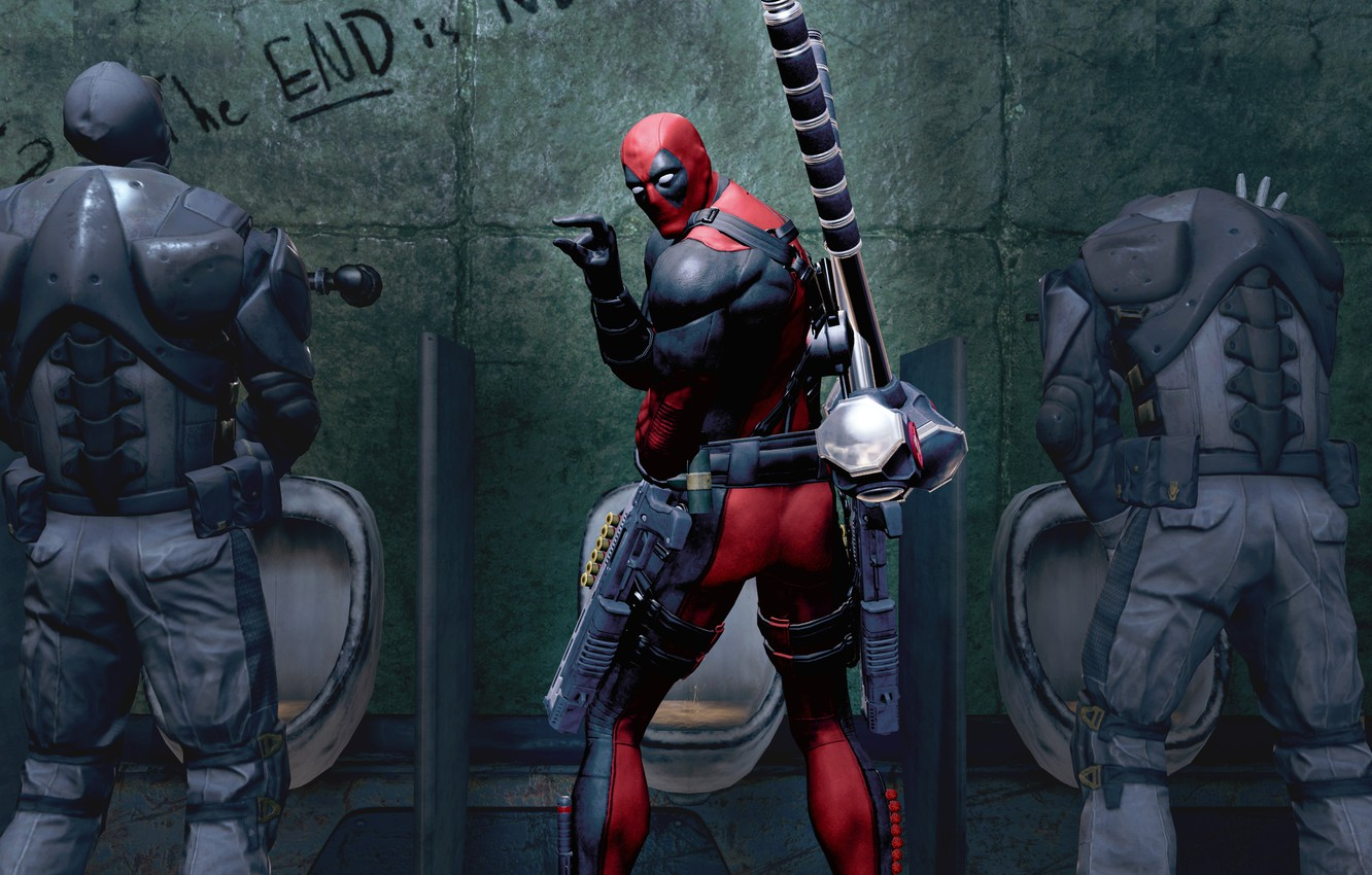 Photo wallpaper weapons, Marvel, Deadpool, Wade Wilson, Deadpool: The Game, toilet, antihero