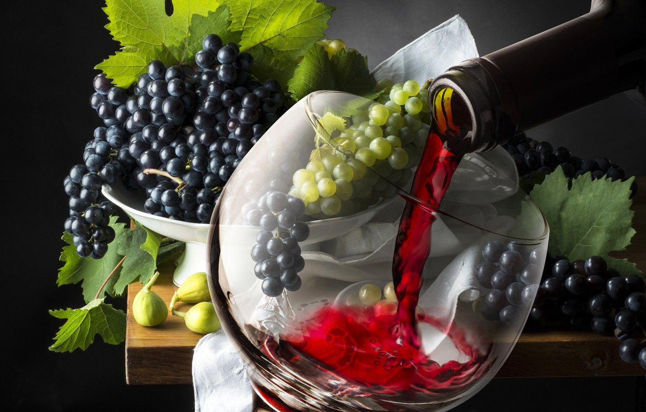 Photo wallpaper wine, glass, grapes, glass, wine, grapes, drink