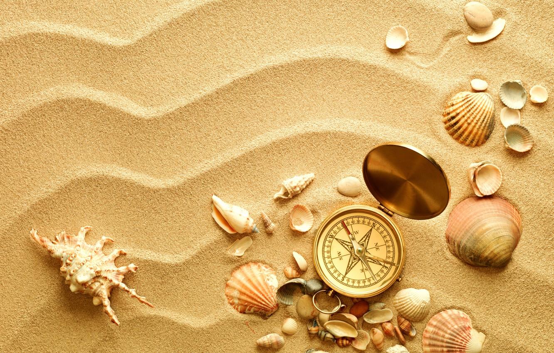 Photo wallpaper sand, shell, compass, shell