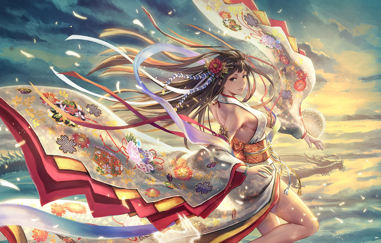 Wallpaper The Wind Jump Dragon Girl Petals Images For Desktop Section Prochee Download