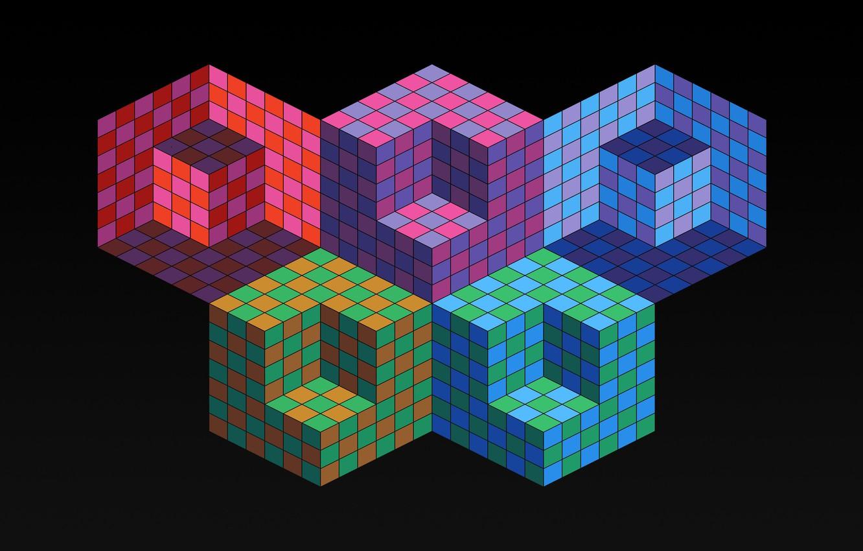Photo wallpaper color, Olympics, cube, cube, the volume, rhombus