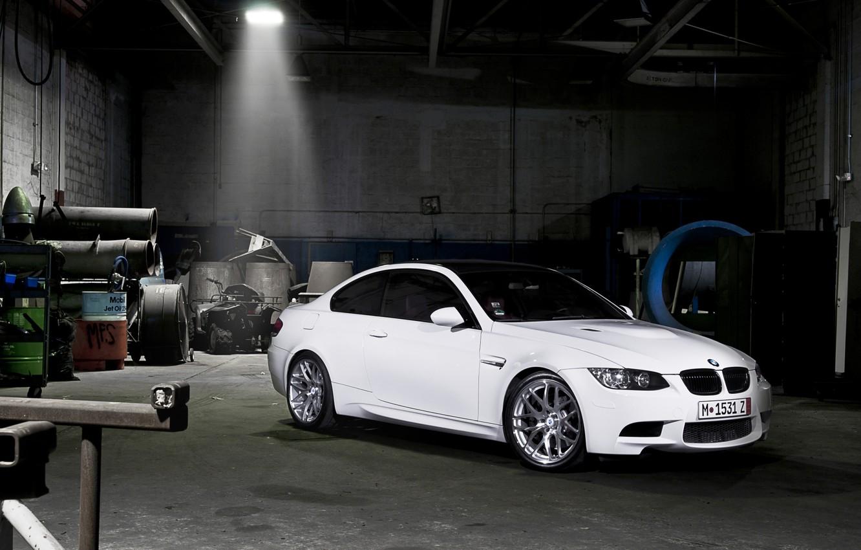 Photo wallpaper white, darkness, tuning, garage, BMW, BMW, tuning, the front