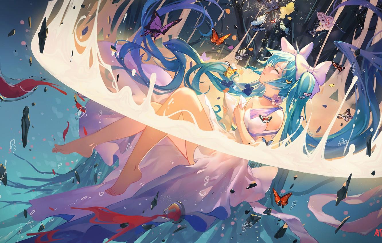 Photo wallpaper girl, anime, art, vocaloid, hatsune miku