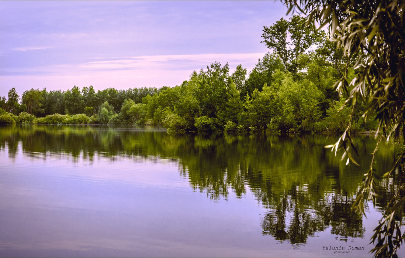 Photo wallpaper the sky, leaves, water, clouds, trees, nature, reflection, river, dawn, branch, color, shadow, morning, horizon, …