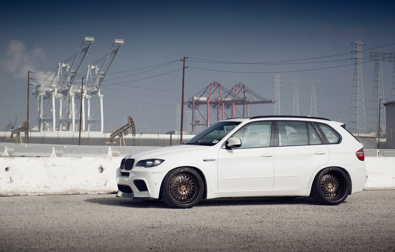 Photo wallpaper BMW, white, tuning, X5M