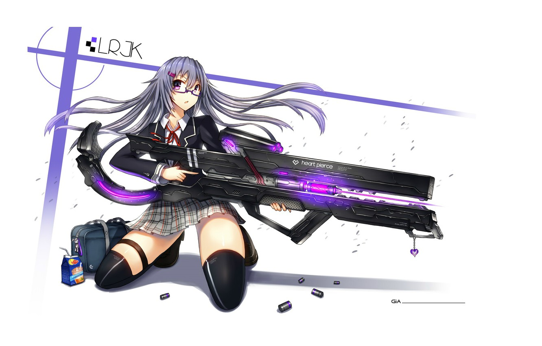 Photo wallpaper white background, laser, gun, schoolgirl, bag, keychain, sleeve, gia, super-weapons, heart piarce