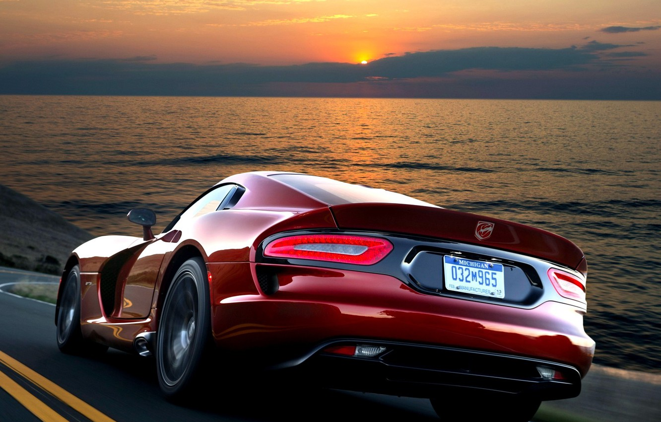 Photo wallpaper Red, The evening, Speed, Dodge, Dodge, Red, Car, 2012, Car, Viper, Wallpapers, speed, GTS, Viper, …