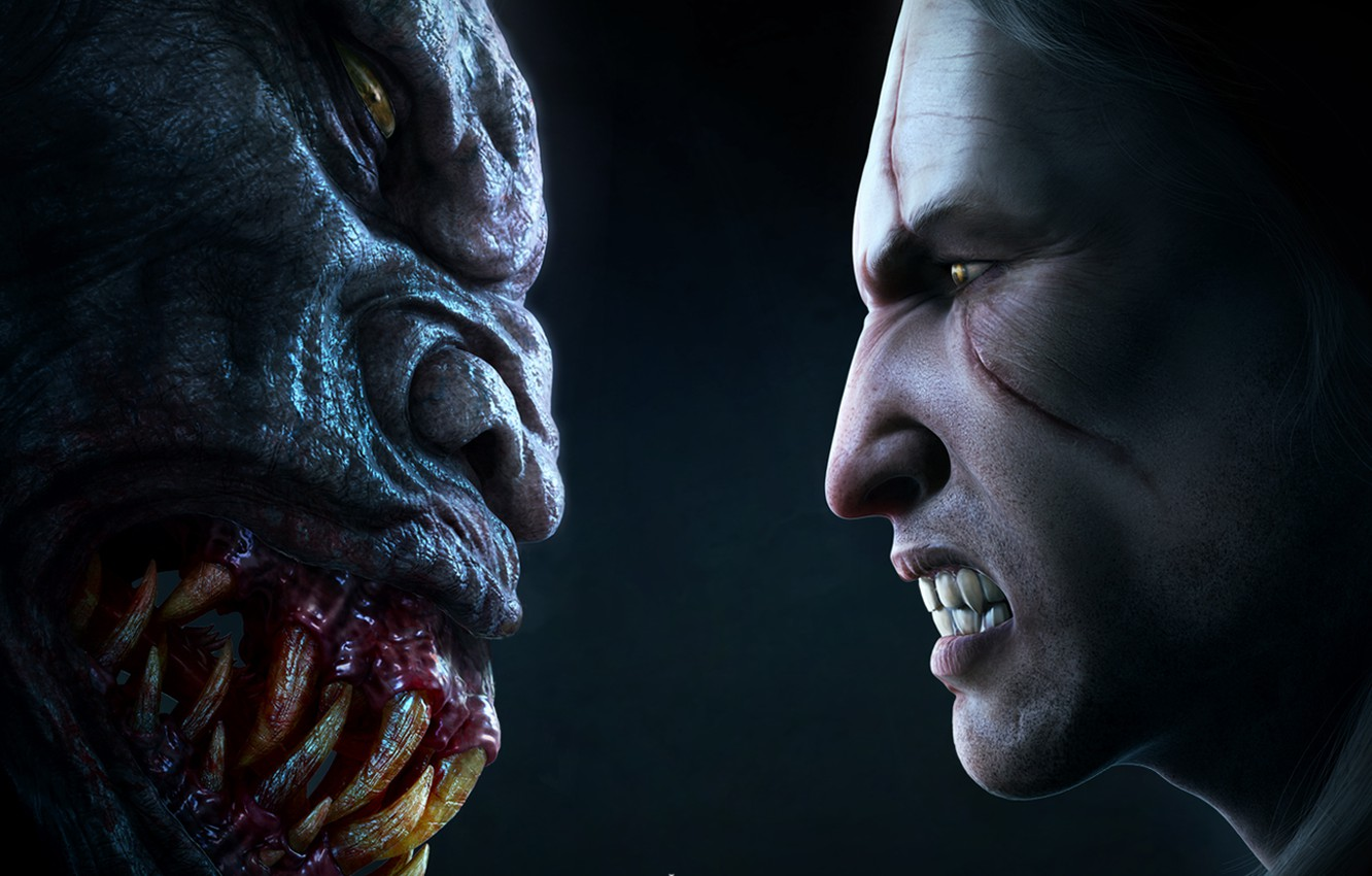 Photo wallpaper the witcher, the Witcher, striga, face-to-face