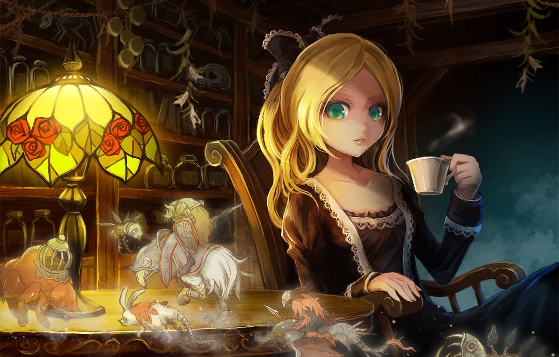 Photo wallpaper girl, surprise, anime, drink, art, green eyes, vision, Takarl Ume