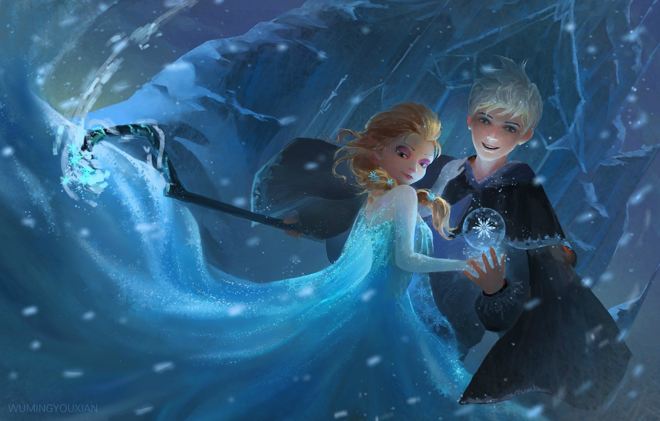 Wallpaper Girl Snow Art Staff Frozen Guy Rise Of The