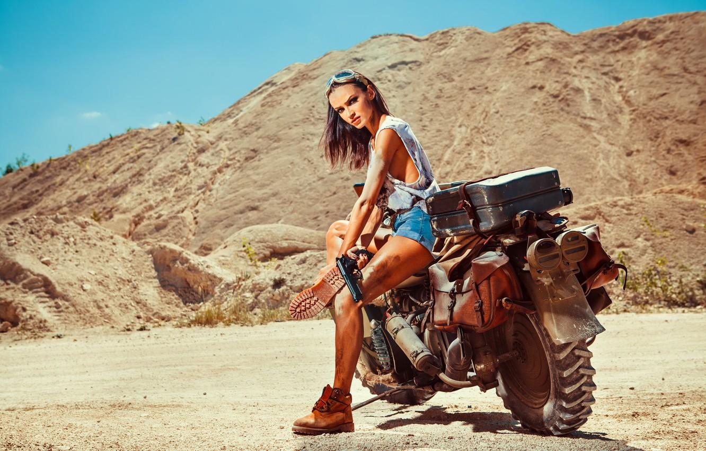 Photo wallpaper sand, girl, gun, shorts, shoes, Mike, brunette, glasses, motorcycle, Harley Davidson, bike