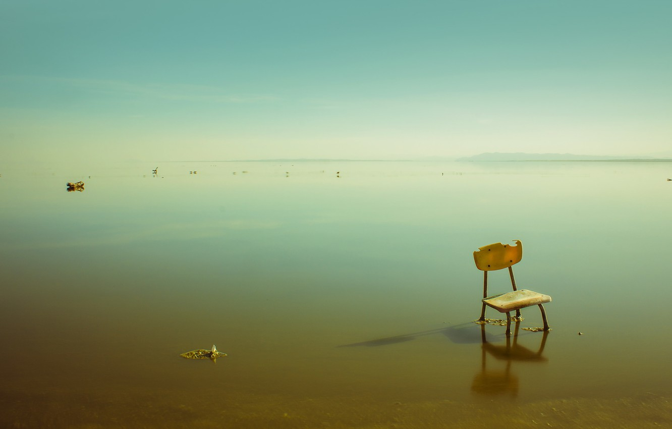 Photo wallpaper sea, chair, stranded