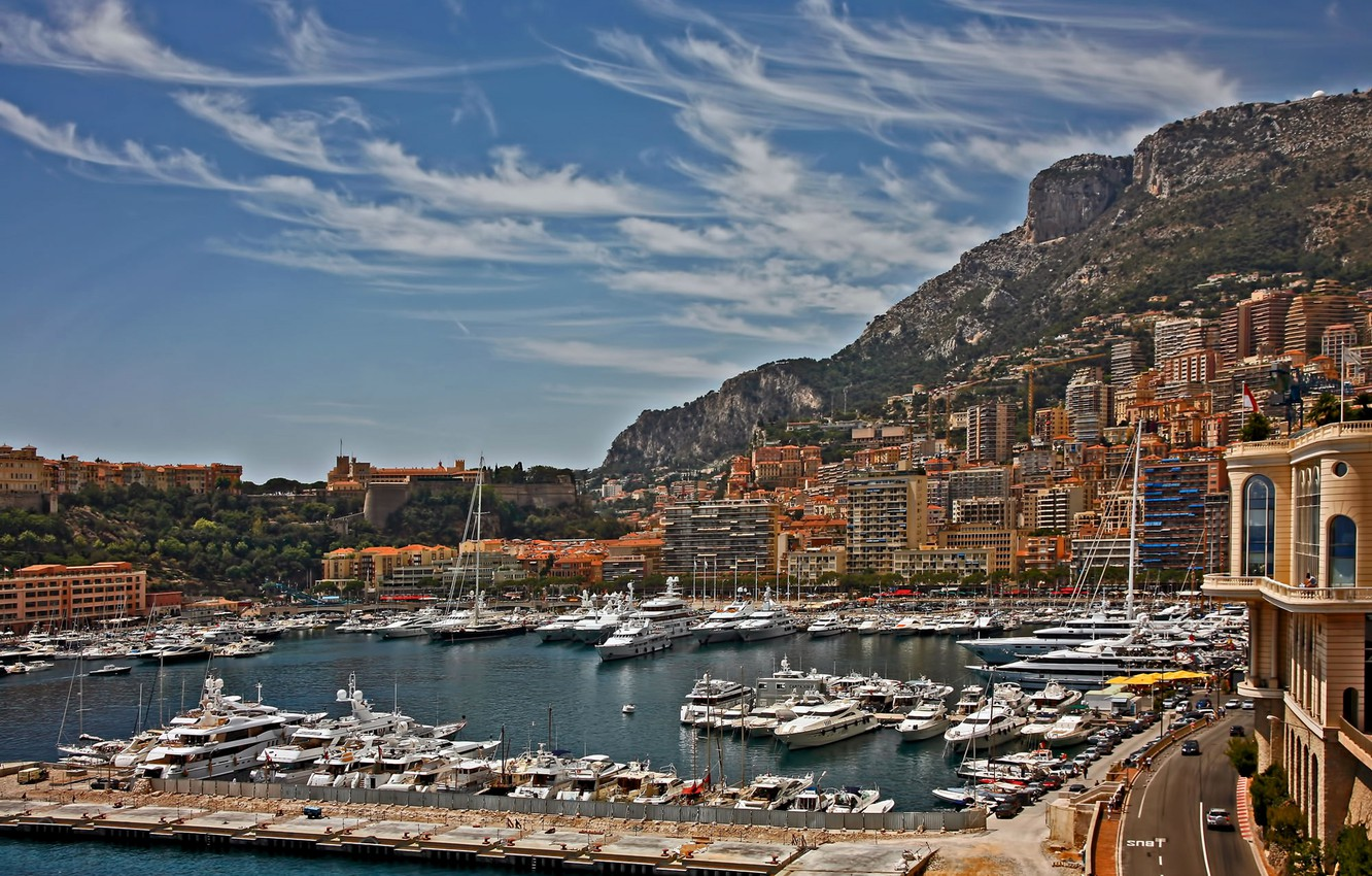 Photo wallpaper the sky, mountains, home, yachts, boats, harbour, Monaco, Monte Carlo