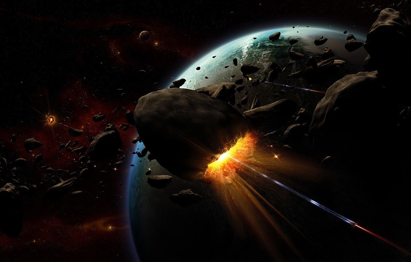 Photo wallpaper the explosion, planet, asteroids